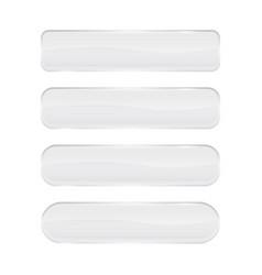 White glass buttons shiny rectangle and oval 3d vector