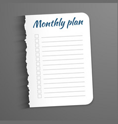 White sheet with inscription monthly plan leaf vector