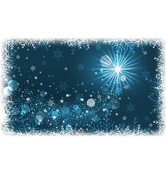 Winter scenery with snowflakes and glitter vector image