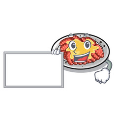 With board carpaccio is served on cartoon plates vector