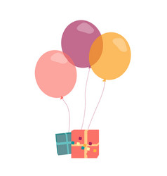 with presents and helium balloons vector image