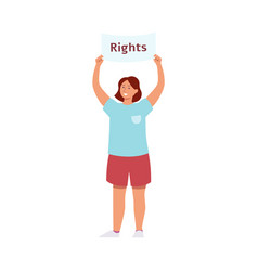 woman stand holding raised protest placard with vector image