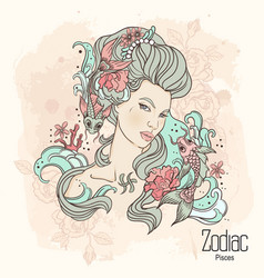 Zodiac of pisces as girl with vector