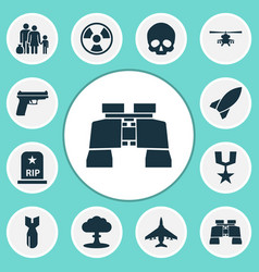 combat icons set collection of cranium missile vector image vector image