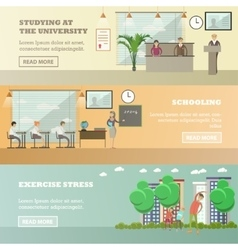 set of education concept horizontal banners vector image vector image