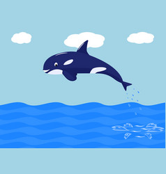 funny cartoon whale jumps out of the water vector image