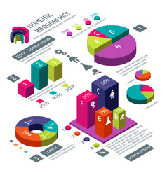 isometric 3d business infographic with vector image vector image