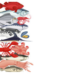 seafood background banner vector image vector image