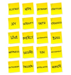 Set of sheets of paper with negative emotions vector image