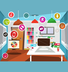 office room with circle icons vector image