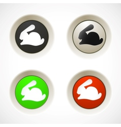 Set of colorful plastic buttons with rabbit vector image