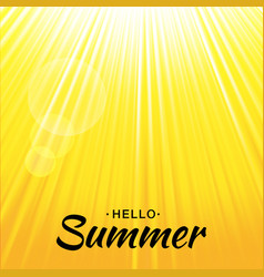 summer yellow glow background with sun rays vector image vector image