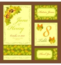 Sunflower Wedding card set Printable vector image