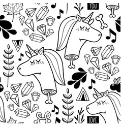 endless background with doodle head of unicorn vector image