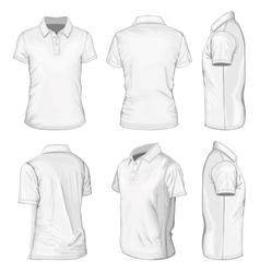 Mens white short sleeve polo-shirt vector