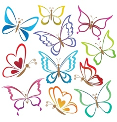 Set abstract butterflies vector