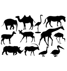 wild animals and birds black silhouette icons vector image