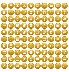 100 webdesign icons set gold vector