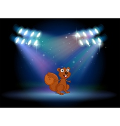 A squirrel at the stage with spotlights vector