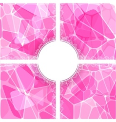 Abstract pink card with lace label vector image