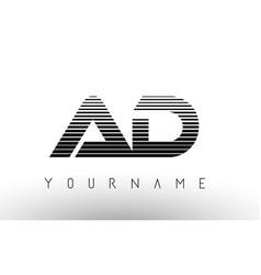 Ad black and white horizontal stripes letter logo vector