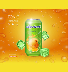 Apricot fruit drink in a can advertising poster vector