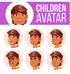 arab muslim avatar set kid primary school vector image