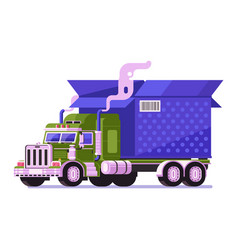 auto shipping deliver truck with parcel icon vector image