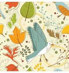 Autumn pattern with leaves and birds vector image