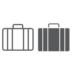 baggage line and glyph icon briedfcase vector image
