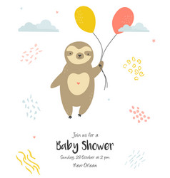 Bashower invitation card with cute sloth vector