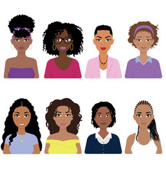 beautiful african american women set vector image