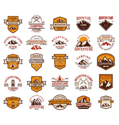 big set mountain hiking emblems design element vector image