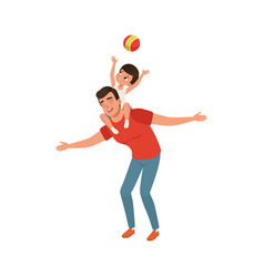 Boy playing ball while sitting on daddys shoulders vector
