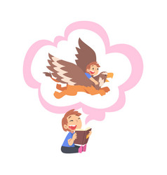 boy reading fairy tail fantasy book about griffin vector image