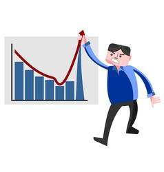 Business man pulling graph upward vector