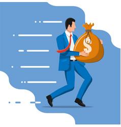 Businessman holding large bag full money vector