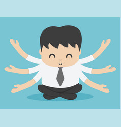Businessman or man sitting for meditation and vector