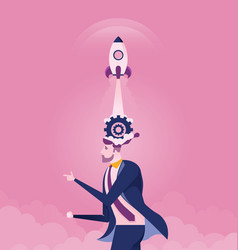businessman with rocket ship launching vector image