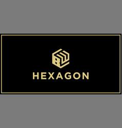 bw hexagon logo vector image