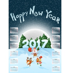 Calendar 2017 Happy New Year Merry Christmas Year vector