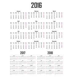 Calendar for 2016 2017 and 2018 Week starts on vector