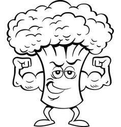 cartoon broccoli flexing his muscles vector image