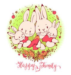 Cartoon bunnies family vector