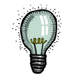 cartoon image of bulb icon lamp symbol vector image