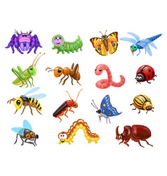 cartoon insects set funny bugs cute beetles vector image