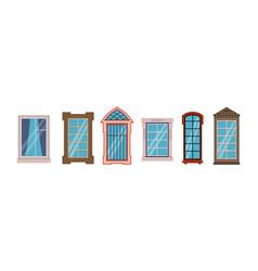 cartoon windows frames colorful various wooden vector image