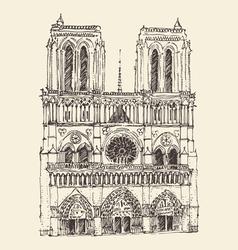 Cathedral notre dame de paris france vintage vector