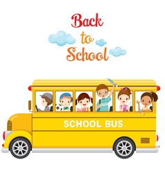 Children Enjoy On School Bus vector