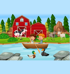 children paddle wooden boat at farm vector image